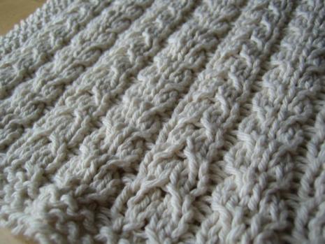 Cable washcloth closeup