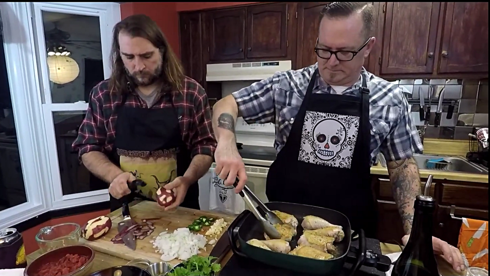 "Andrew Grimm and  Chef Jeremy Davis cooking together!....""Here's to music, here's to food \m/ !!!"