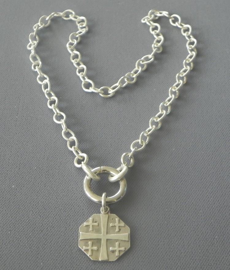 Sterling silver link necklace with jerusalem cross pendant sterling silver link necklace with jerusalem cross pendant alderman ford aloadofball Images