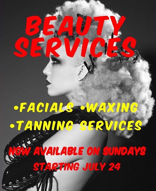 Beauty services now available on Sunday's starting July 24. Call to schedule an appointment today (714) 256-9225 | We are located in  Salon 5150 375 W. Birch St. Suite #2 Brea, CA 92821 | #salon5150 #beauty #beautyservices #hair #facials #waxing #tanning #brea #california