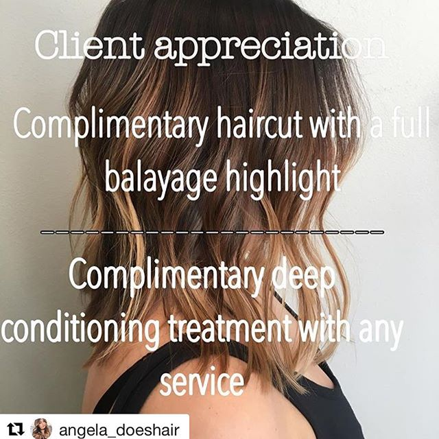 Hair by Angela @angela_doeshair // #Repost @angela_doeshair with @repostapp ・・・ Now through November 28th 2016, when you show me this ig post I will give all clients a complimentary haircut with any FULL balayage highlight (haircuts $56) or a complimentary deep conditioning treatment with any service (40+) as a thank you to all the awesome reviews and new clients you have brought my way ❤️❤️❤️ thank you guys so much!