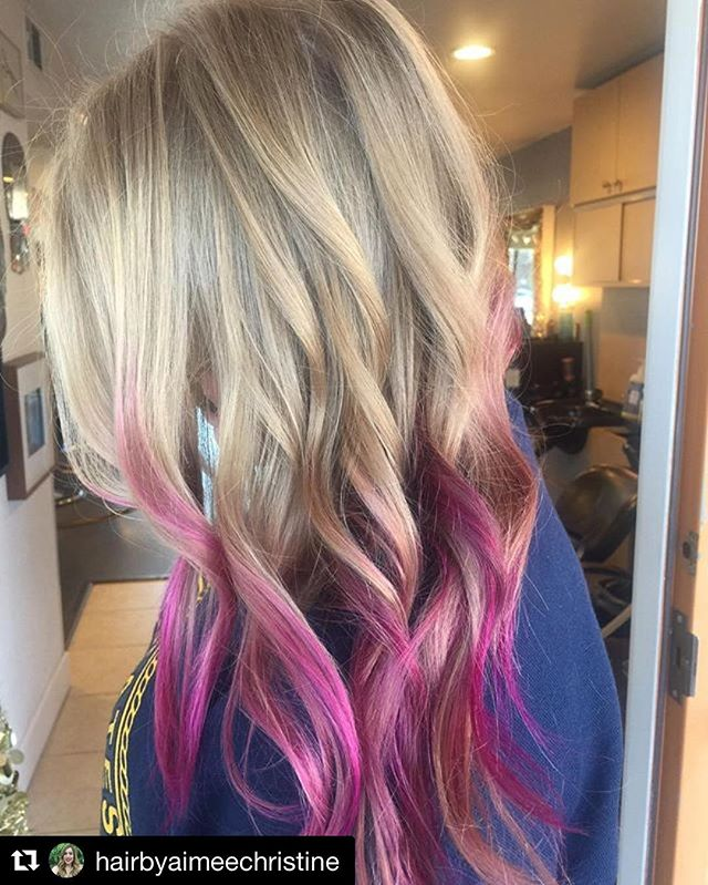 #Repost @hairbyaimeechristine with @repostapp ・・・ Give the gift of good hair this season! 🎁#magentatips #meltedmagenta #blondeshavingfun #funhair #coolhaircolor #blondebeauty #wildorchid #blondeandmagenta #colorspecialist #hairbyaimeechristine #salonDrew #sealbeach #losalamitos #longbeach #salon5150 #brea #fullerton #placentia #whittier
