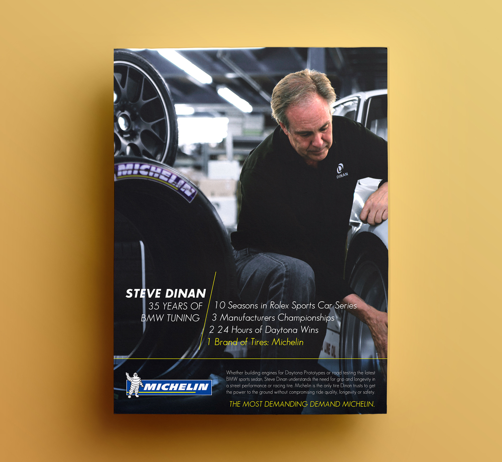 I designed an entire series of Michelin magazine ads based on a boutique auto performance company.