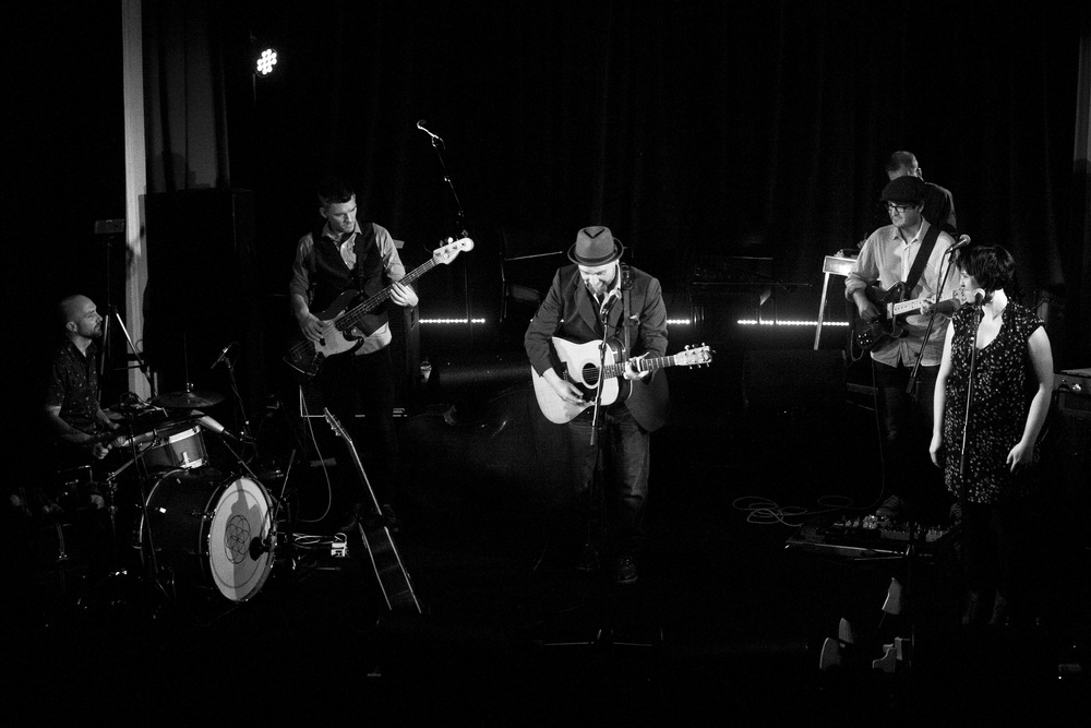Here with Gallie launching 'The Occoquan River' at Memo Music Hall, St Kilda.    Also pictured; Tristan Courtney, Robbie Melville, Liz Stringer, Garret Costigan.    Photo by Marcus Byrne.