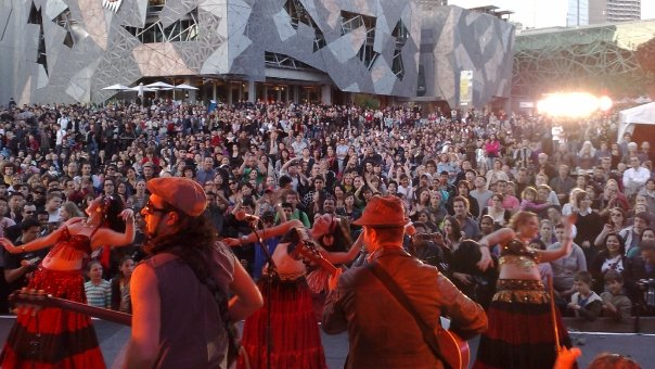 With world music ensemble Unified Gecko at Federation Square, Melbourne Australia