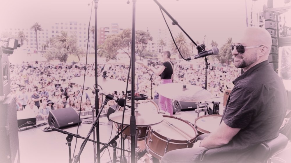St. Kilda Festival 2018, with the incredible Mia Dyson...and playing my new Swan Drums snare...who wouldn't be happy!?