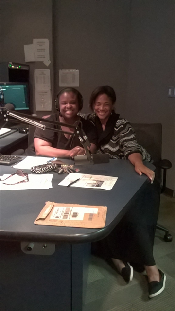 "Mechielle with Radio Host Tiffany Bacon promoting her one woman show, ""God Its.Me Again."""