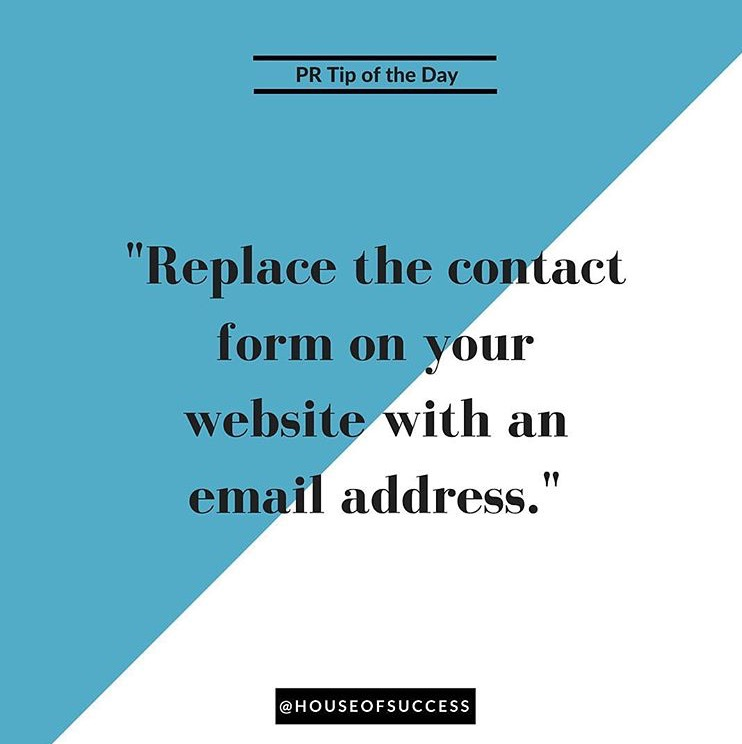 "Sakita shares a ""PR Tip of the Day,"" via her IG: If the only thing you have on your website's 'Contact Us' page is a contact form, you're sending a message to prospective clients and customers that you don't actually want to be contacted. There are a lot of things wrong with contact forms (namely, messages don't always get delivered) but the main one is that they are inefficient and off putting. Add an actual email address or phone number where you can be reached.  If you don't want your personal email address public, there are a ton of programs (check with your current email provider) that will allow you to create an alias address that will deliver messages to your private inbox without creating a new account. Bonus Tip: If you're running a blog with multiple contributors add a masthead!"