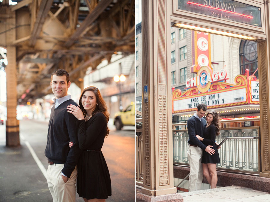chicago theater engagement photo