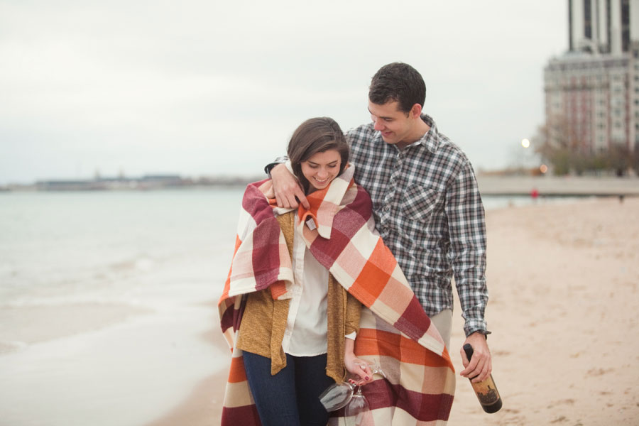 chicago oak street beach engagement photo