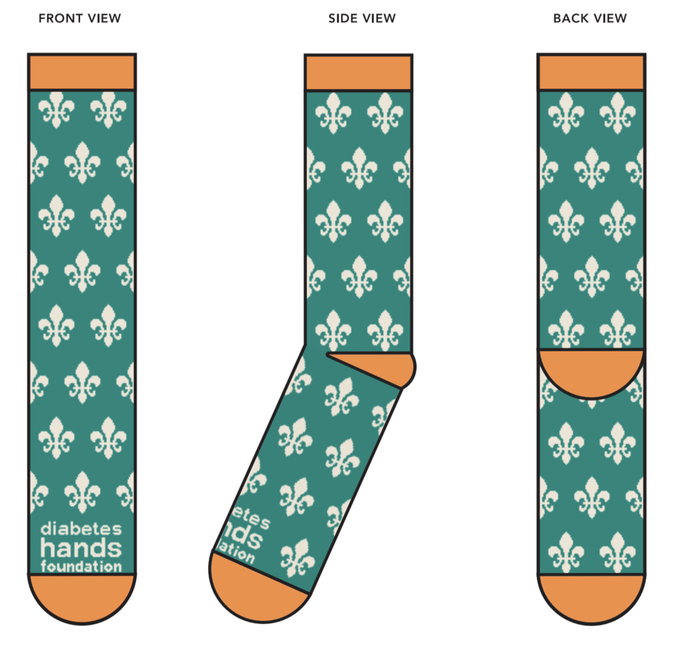 People with diabetes use compression socks for blood circulation. This inspired a fun fundraiser giveaway for the Diabetes Hands Foundation - custom socks! We worked with the  Sock Club  to design themed socks for the New Orleans-based event. They were a a huge hit!