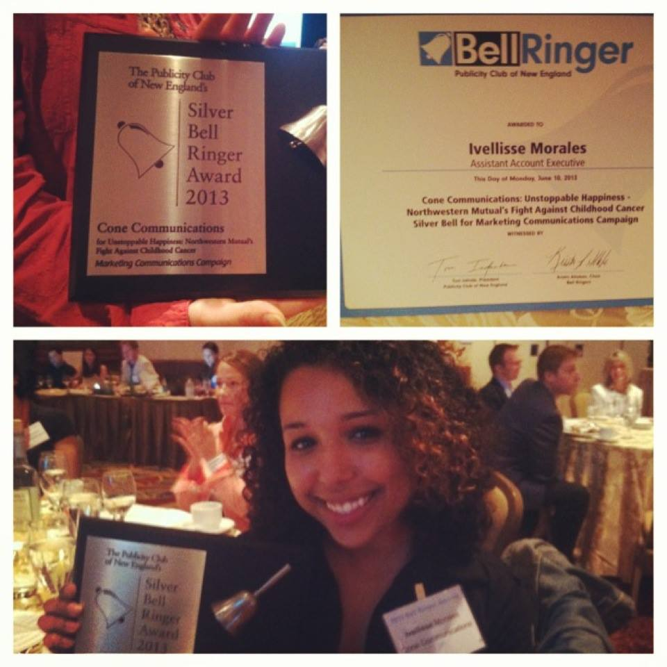 Instagram relic of my first industry award at The Publicity Club of New England's Bell Ringer Awards in 2013.