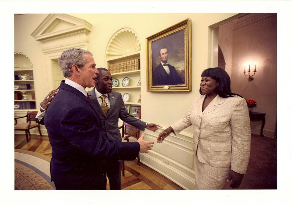 Introducing mother to President George W. Bush in the Oval Office