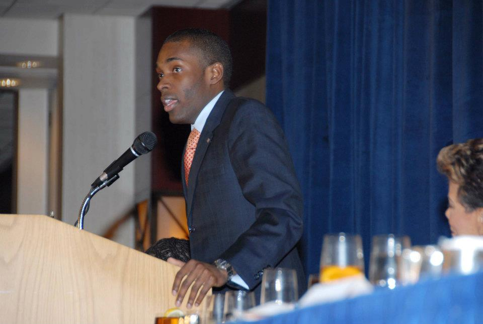 Giving remarks at an awards luncheon