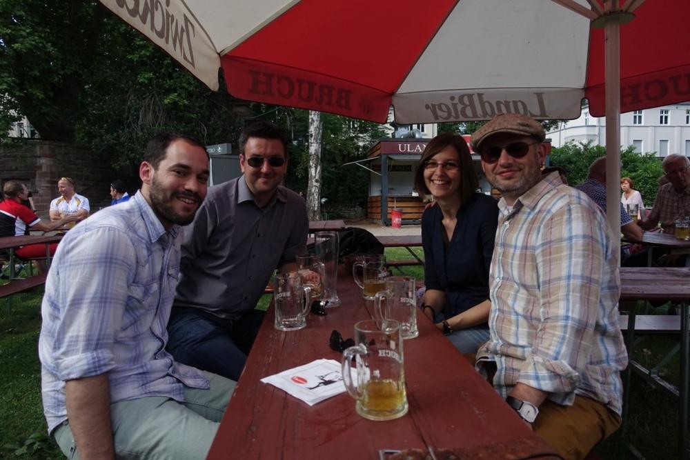 Alumni reunion in Saarbrucken:  Joshua D. McGraw, Oliver Bäumchen, Sabrina Haefner & Kari Dalnoki-Veress