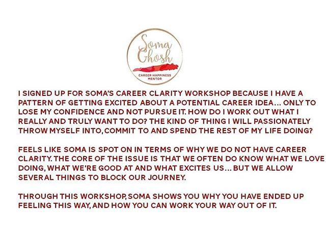 I designed the career clarity workshop because many of the women I speak are confused, overwhelmed and not sure what they need to do next.  This workshop is designed to help you understand career clarity. Why it exists and also give you some tips on what to do if you feel you stuck in a state of confusion.  A lack of career clarity isn't overcome over night it takes time. It also involves you being  accountable and making sure you understand what you want. Not what others expect of you.  If you are interested in signing up to the recording of this workshop please go to the link in linktree and get your recording today. You also get one email where you can ask me 4 questions.  If you have any other questions just send me a message.