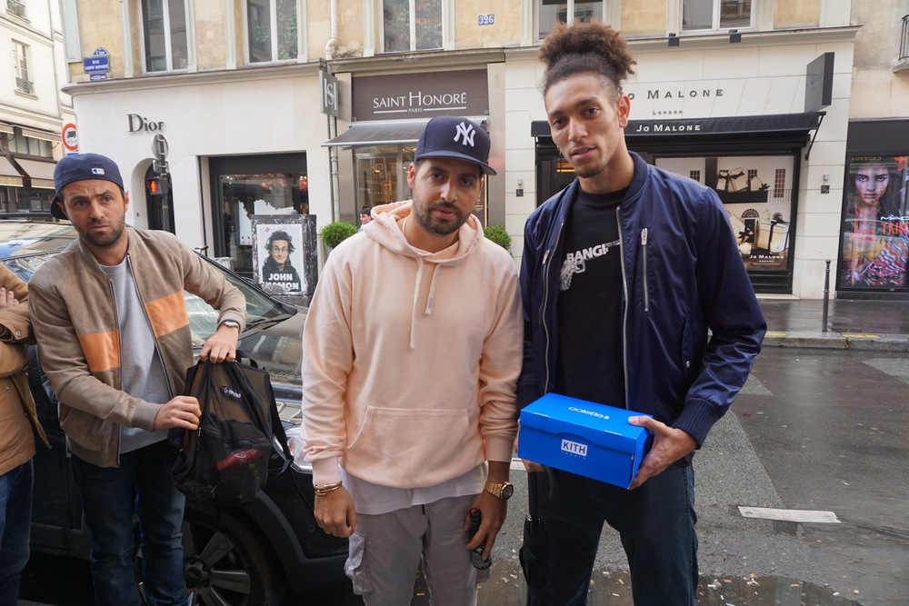 Am- posing with Ronnie Fieg outside Colette Paris