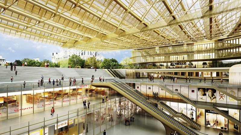 The 5-story, Forum Les-Halles shopping center that sits atop Paris's largest metro station.