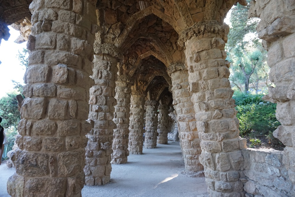 Terrace walls in the free access zone of Park Güell.