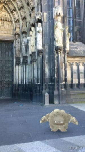 Pokemon Go in Germany! Graveler at Cologne Cathedral.