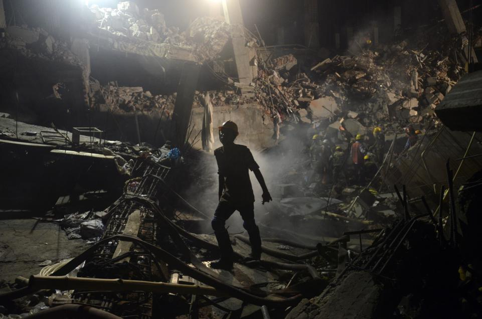 A garment factory collapse in Bangladesh, 2013.  Image: Newsweek .