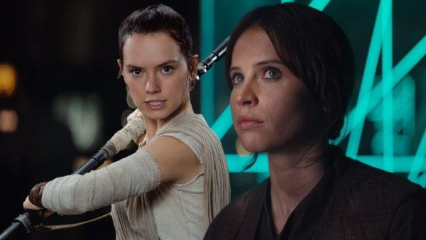 Daisy Ridley and Felicity Jones in Star Wars.