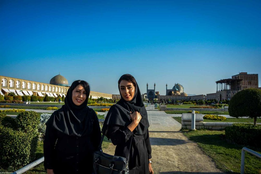 Two women walking on Naqsh-e Jahan Square