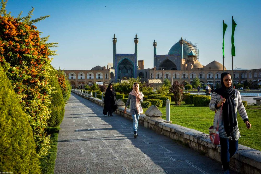 Generations of women walking in Naqsh-e Jahan Square