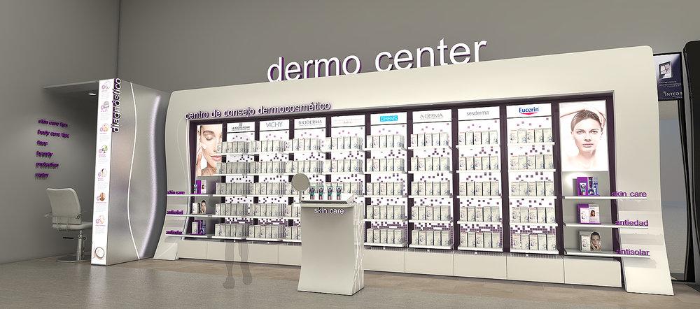 Diseño y proyección mueble exhibidor productos dermocosméticos Locatel