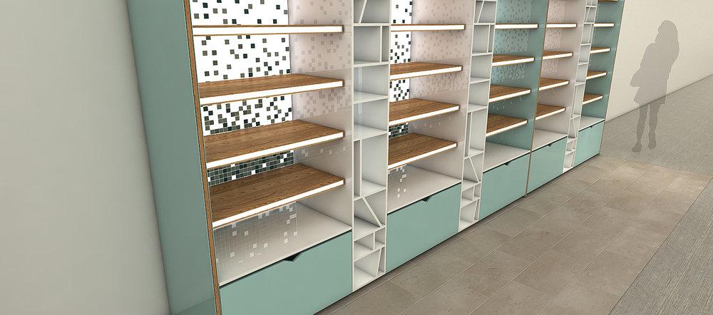 Diseño y proyección mueble exhibidor productos dermocosméticos