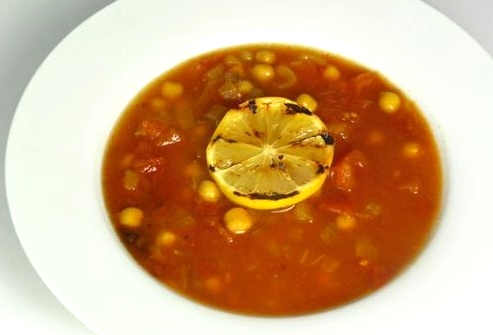 Roasted Tomato Soup with Chickpeas and Grilled Meyer Lemon