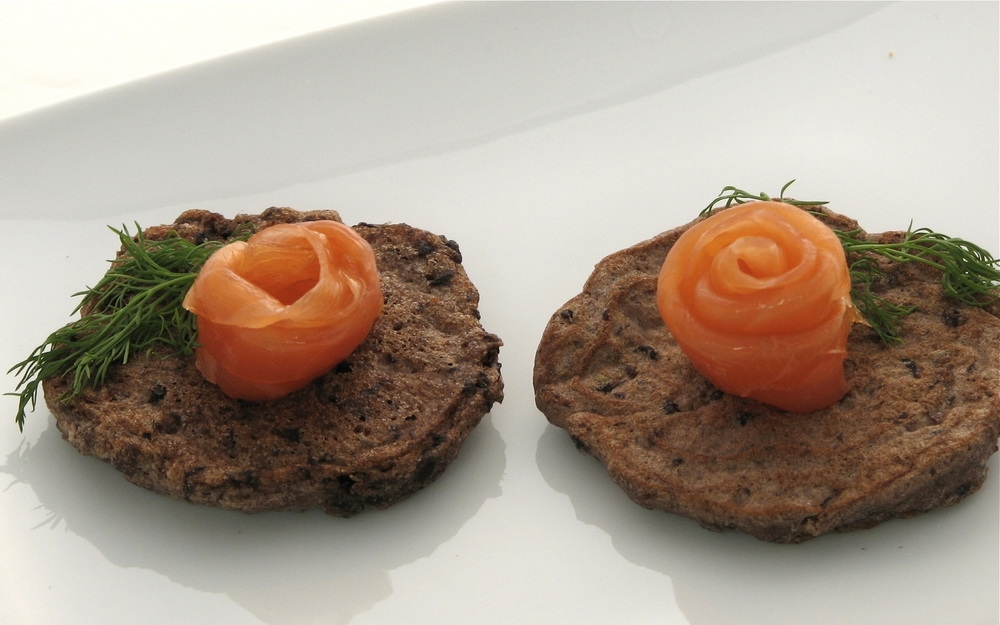 Black Bean Blini with Smoked Salmon and Dill