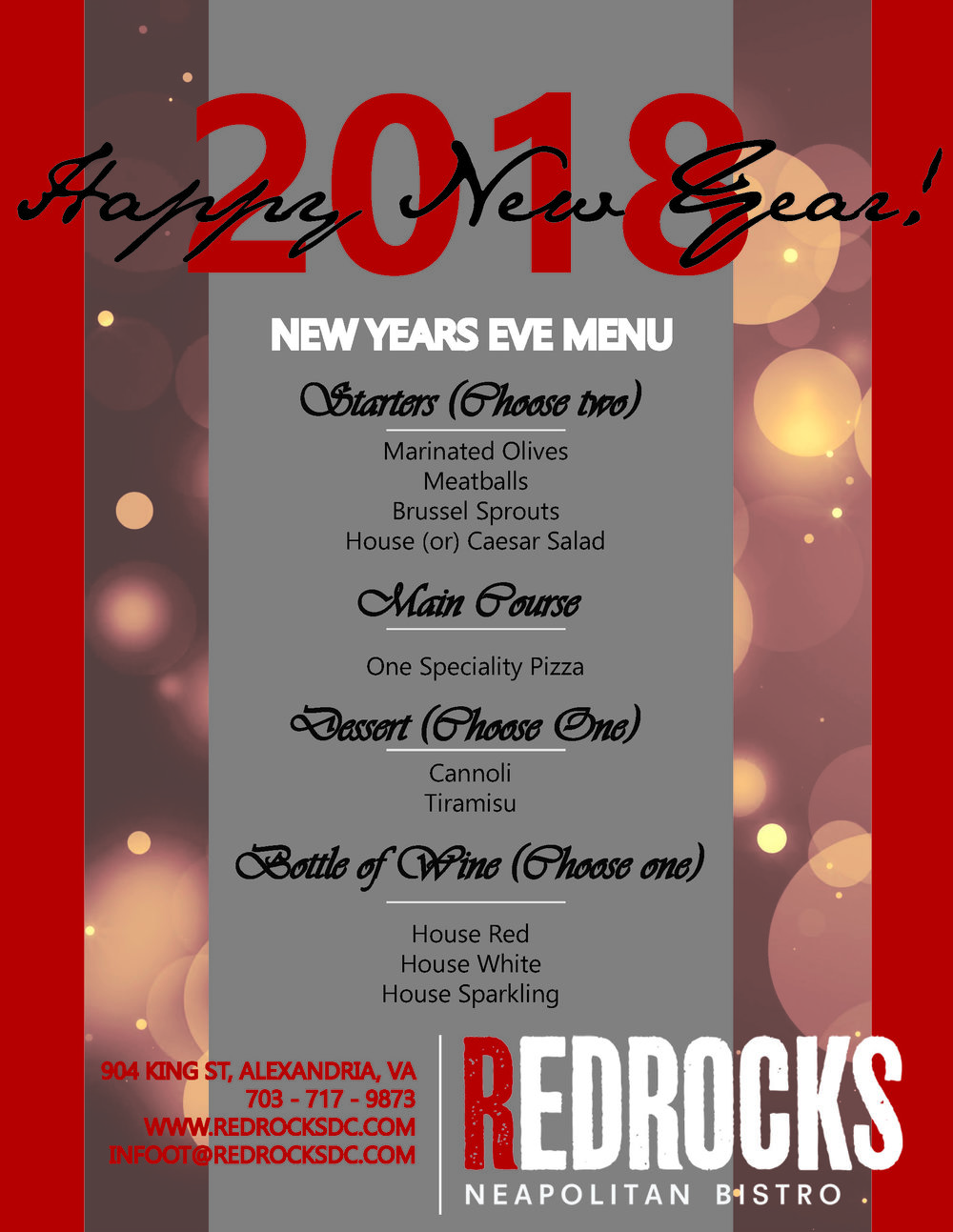BRING IN THE NEW YEAR WITH REDROCKS PIZZA. - We are offering a $50 pre fixe dinner for two. Make RedRocks part of your first night celebrations in Old Town.