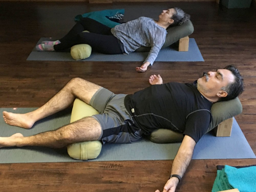 Restorative Yoga - Is great for:People with injuries, limited range of motion, high stress, hormonal imbalances, insomnia, trouble losing weight, cancer, auto-immune disorders, anxiety and depression.