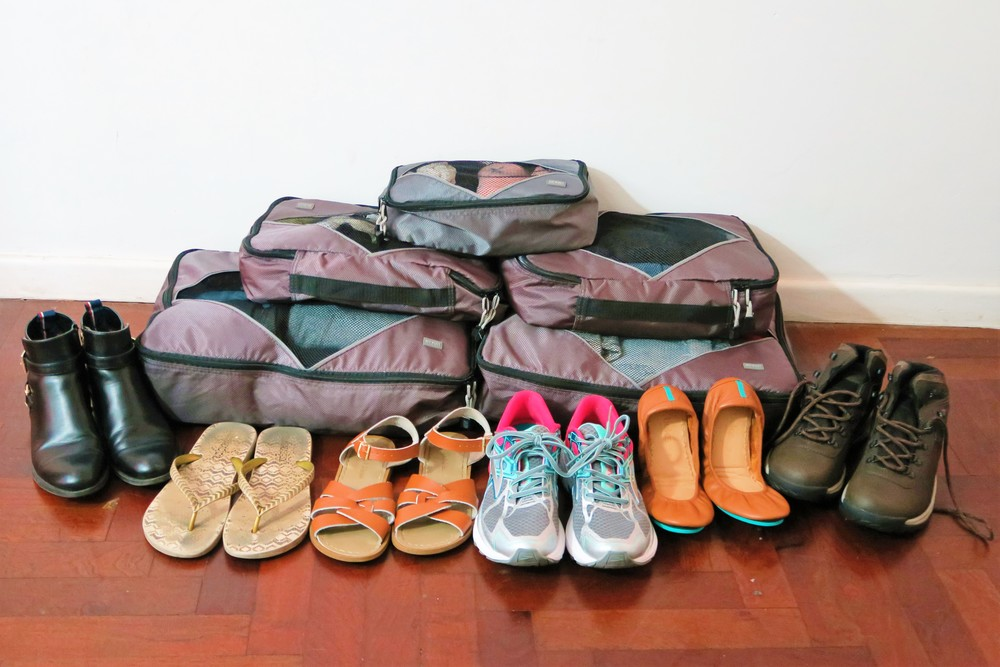 All of my shoes and clothes. These packing cubes are great space savers!