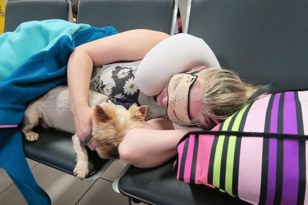 Posey & I sleeping in the Lima airport on our 10 hour layover