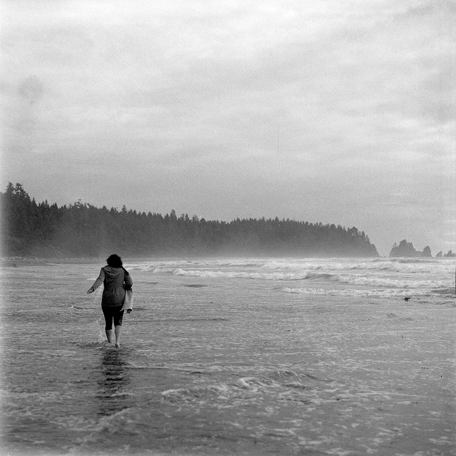 Breanne, high tide on the rugged Olympic Coast after a 4 mile hike in.