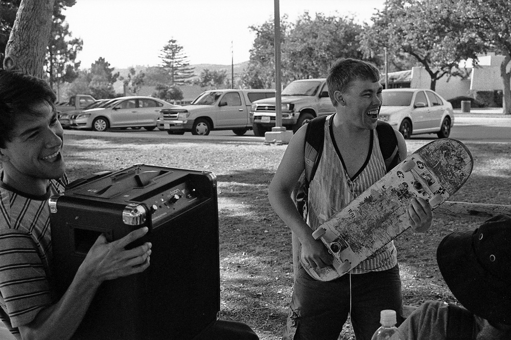 "Jared Martinez and ""Cory Hawk"" jamming out at a BBQ before the premiere."
