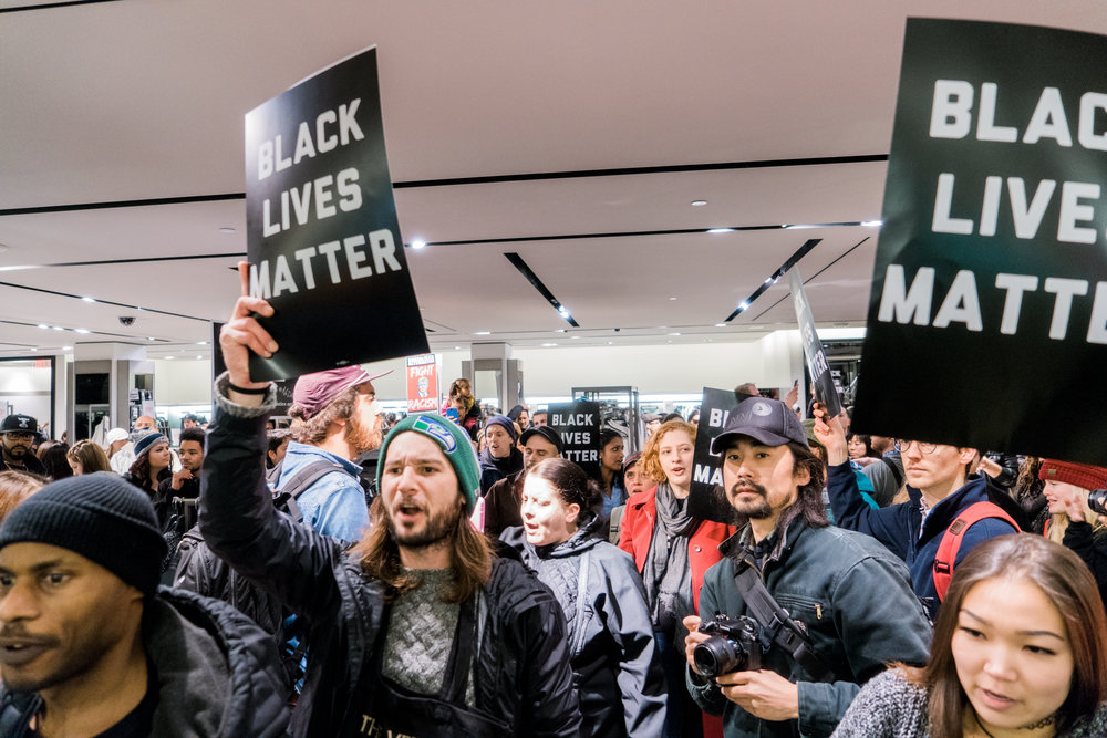 Protesters forced their way into clothing store Zara where they intended to disrupt shopping and raise awareness for their cause at the Westlake Mall.