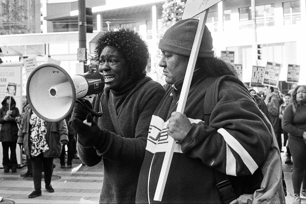 Black Live Matter Protest, November 2015. Speeches given by those affected. Photography by Anthony Allison