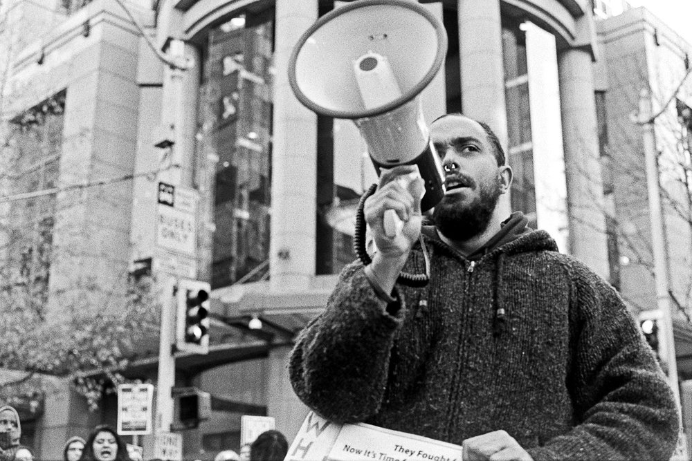 Pause for reflection and messages. Black Lives Matter Protest, November 2015. Photography by Anthony Allison
