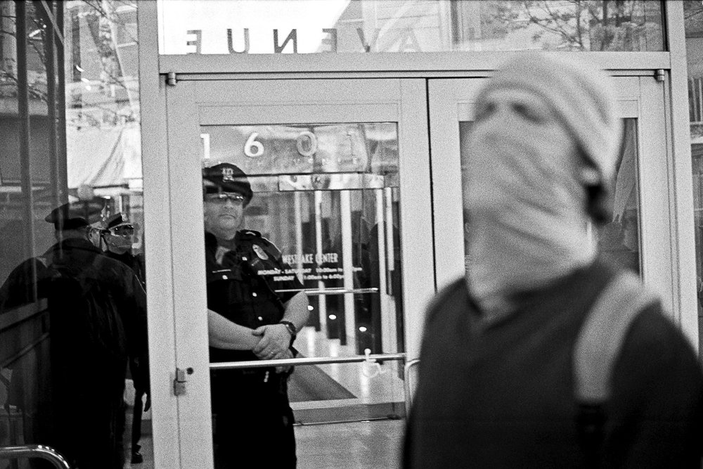 Police presence kept people out of the mall. Black Lives Matter Protest, November 2015. Photography by Anthony Allison