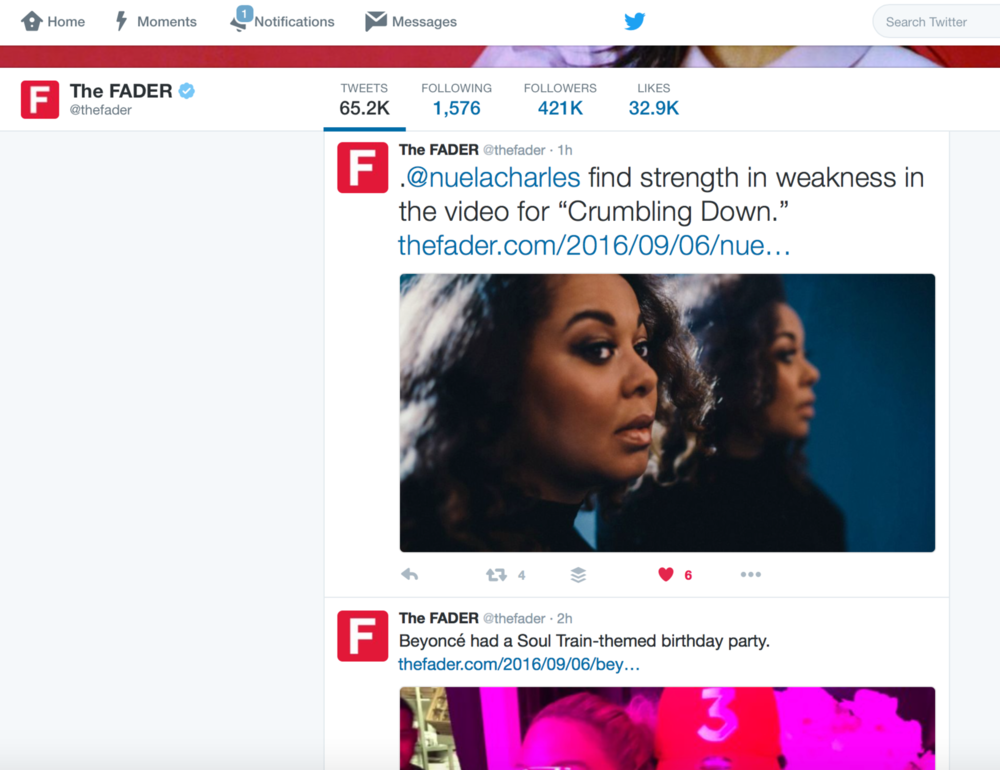 """""""Crumbling Down""""   Music Video premiere's on  THE FADER. (September 2016)"""