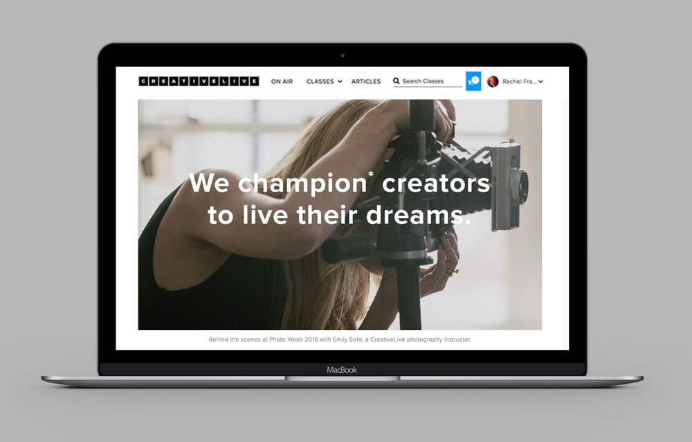 My visual strategy behind the About page was to successfully combine powerful imagery, minimalism, and clarity in messaging––three qualities I consider to be key attributes of the company brand. The page opens with a focus on our unique differentiator: our instructors and our mission statement.