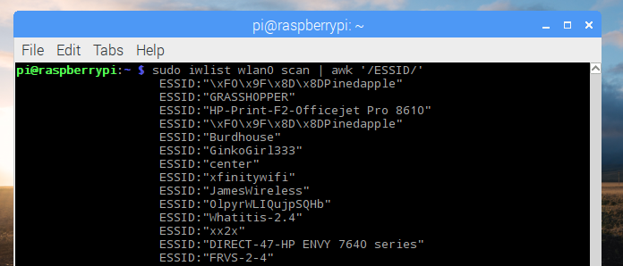 "My network is the first in the list. Copy the string (without the quotes) after ""ESSID:"""
