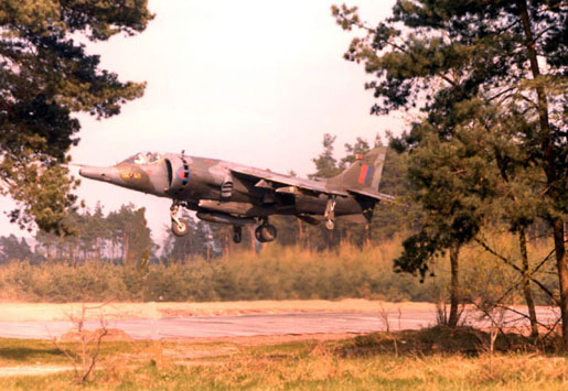 Harrier GR3 XV786/E of 4 Sqn taking off from a clearing in Germany (BAe)