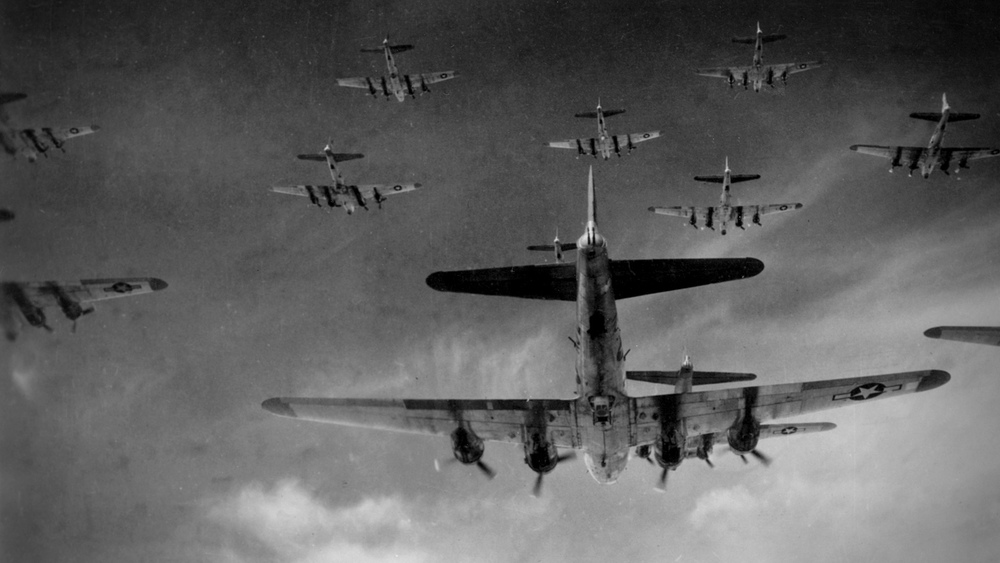 vintage photo of B-17s in formation