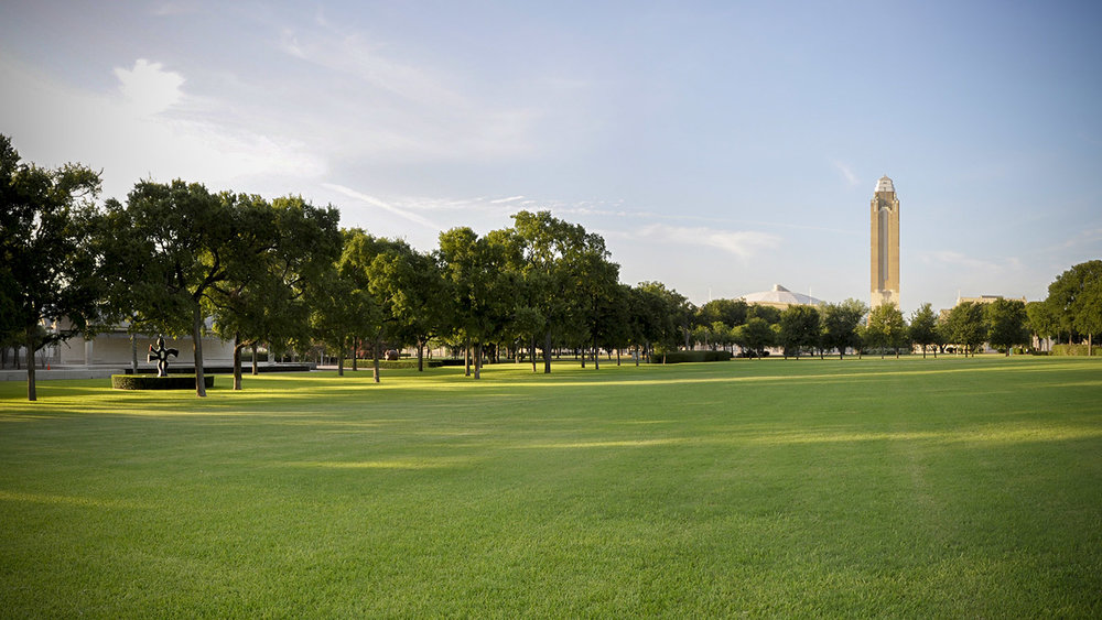 This is the lawn that once existed in front of the Kimbell Art Museum