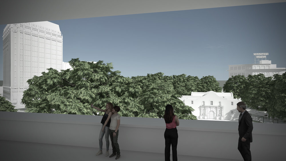 The outdoor viewing terrace between the existing Crockett Block and the upper gallery addition