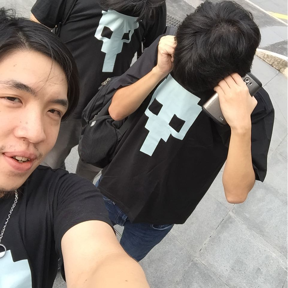 Having fun with our new company t-shirt
